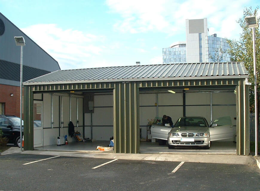 insulated metal garage building